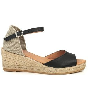 Shoes - Toni Pons Llivia P Black Leather Wedge Espadrille